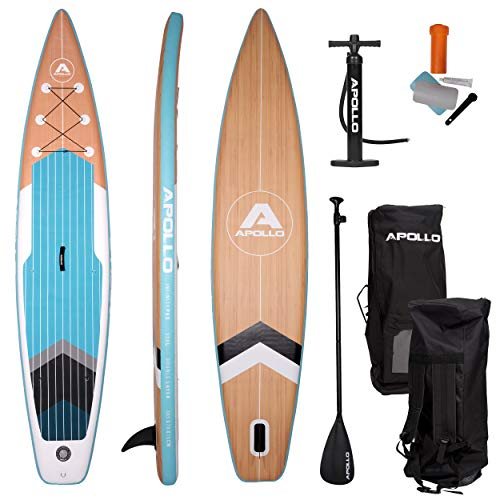 Apollo SUP Board Infinity Pro - 365 x 76 x 15 cm, iSUP Komplettset, Stand-up-Paddling Set, extra lang, aufblasbares Double Layer Board, inkl. Paddel, Pumpe und Reparaturset, Profi-Board