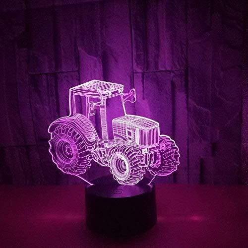Luz De Noche Para Niños, Luz De Noche De Ilusión 3D De Tractor, Lámpara De Mesa Familiar, 7 Lámparas De Mesa Táctiles Que Cambian De Color, Regalos De Cumpleaños Para Niños Y Niños