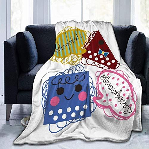 Mantas de graffiti de dibujos animados de chocolate y fresa utilizadas para camas Sofás mantas ligeras de franela de microfibra cálida y cómoda (hombres, mujeres)