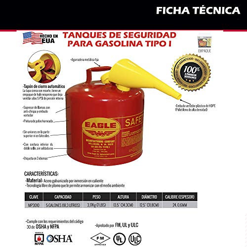 Eagle UI-50-FS Red Galvanized Steel Type I Gasoline Safety Can with Funnel, 5 gallon Capacity, 13.5