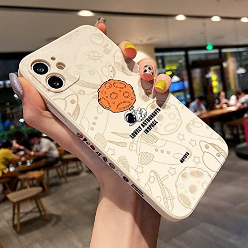 Per iPhone 11 12 Pro Max 7 8 Plus Xs X Xr 12pro Silicone Cute Astronaut Moon Cartoon Cover Phone Cover Coppia Shell, 02, per iPhone X XS