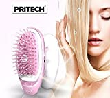 Brosse ionique anti cheveux statique portable rose à pile Pritech