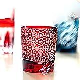 Vasos de cristal clásicos, jarra de cerveza, copa de cóctel, vaso giratorio, tallado a mano, exquisita caja de regalo, el mejor regalo para bodas, 260 ml, rojo/azul-red