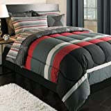 Black Gray Red Stripes Boys Teen Twin XL Comforter Set (5 Piece Bed In A Bag)