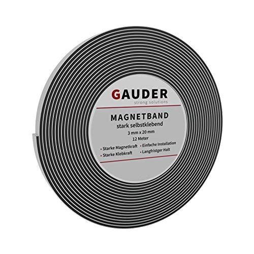GAUDER Magnetband extra stark | Magnetstreifen extrem selbstklebend | Magnetklebeband