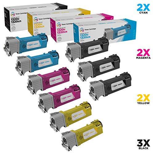 LD Compatible Toner Cartridge Replacement for Dell Color Laser 1320c High Yield (3 Black, 2 Cyan, 2 Magenta, 2 Yellow, 9-Pack)