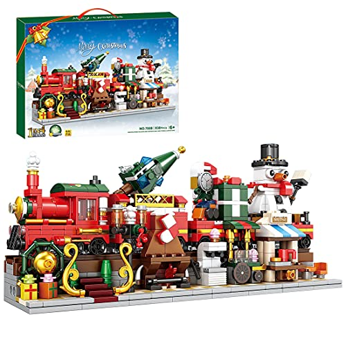 LAXI Set da costruzione, 1 in 4, con treno invernale con luci a forma di pupazzo di neve, 838 pezzi di mattoncini compatibili con Lego Natale 2021