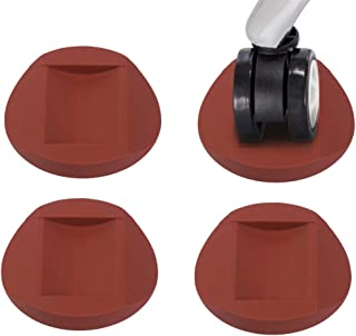 CGBOOM Furniture Cups & Bed Stopper 4 Pack Wheel Stoppers 2 Inch Furniture Coasters Floor Protector Round Rubber Caster Cups Non Skid Rubber Grip Coffee Brown for Wide Range of Floor & Wheels