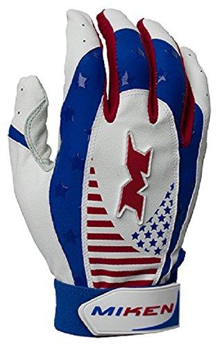 Miken Pro Adult Baseball/Softball Batting Gloves Red/White/Blue. MIKPRO-RWB-M