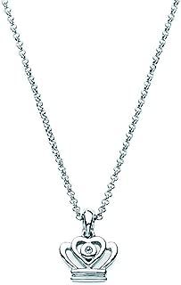 Little Diva Diamonds Diamond Accent Princess Crown Pendant Necklace in 925 Sterling Silver, 16