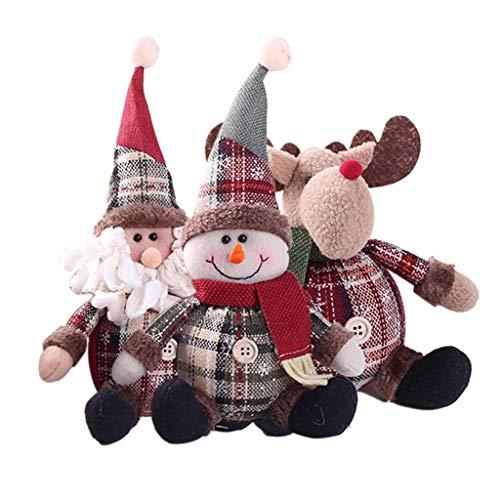 JIAL 3PS Nette Santa Schneemannpuppe Weihnachtsdekoration Geschenkpuppe Weihnachtsbaum Hängende Verzierung Neujahr Weihnachten Home Decor Chongxiang