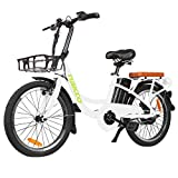 BRIGHT GG NAKTO 250W City Bike Electric Bike Adult, 20' Electric Bicycle with Removable 36v10ah Lithium-Ion Battery, White ebike