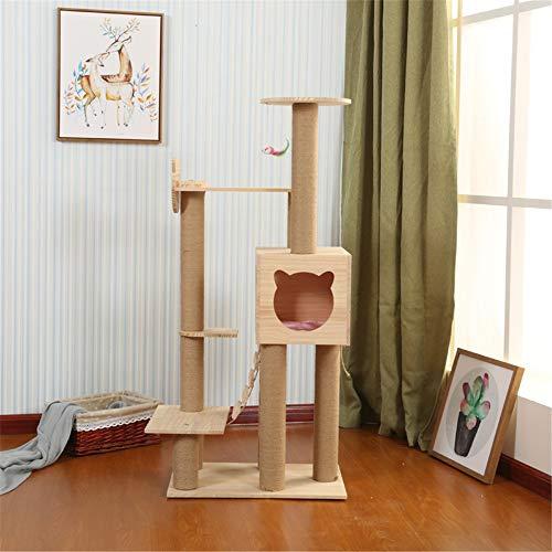 Kratzbaum Kratzbaum Massivholz Katze Kletterbaum Katzenspielzeug Cat Claw Brett Kratzbaum Katzentoilette Massivholz-Regal Kiefer Kletterbaum Kletterbaum für Katzen