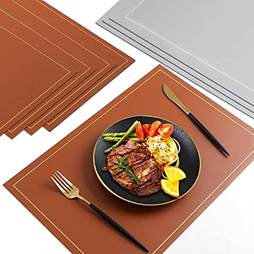 Placemats Set of 4 Non Slip Heat Resistant Place Mats Easy to Clean Rectangular Leather Placemat for Kitchen and Dining Table 17 x 12 inches Double Sided Placemat Gray and Brown