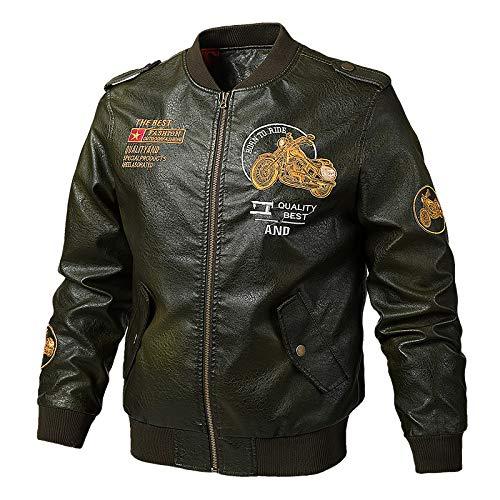 GQDP Jacke für Frühling, Lederjacke, große Größe, für Motorrad, Stickerei, männlich Gr. XX-Large, Vert Armée