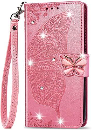 Unichthy Samsung Galaxy M31/F41/M21s Hülle für Mädchen Glitzer Sparkle Bling Handyhülle 3D Gems Schmetterling Stoßfest Leder Wallet Flip Schutzhülle Folio Notebook Shell Pink