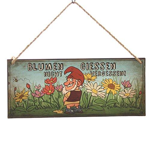 Schild Gartenzwerg m. Jutehänger Blumen giessen nicht vergessen Metall 30,5 x 13 cm, Schilder, Wandobjekt, Deko, Sprüche