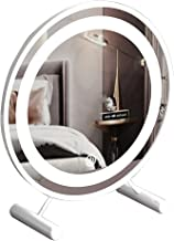 MU Okrągłe lustro kosmetyczne LED ze światłami, podświetlane lusterko kosmetyczne 3 tryby oświetlenia, lustro stołowe (śre...