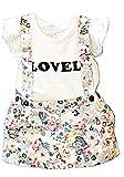 KIRALOVE Latzhose Set - Kleid - sommermädchen - 4/5 Jahre - geblümt - 110 cm - mädchenbekleidung