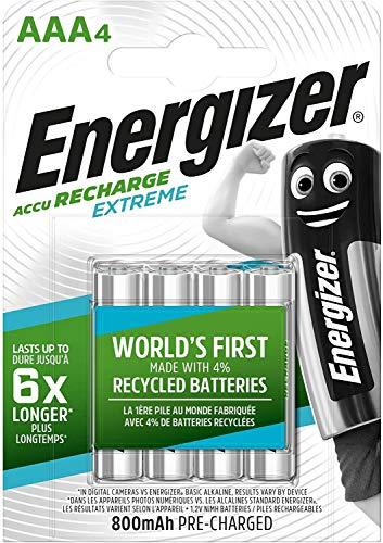 Energizer Recharge Extreme Batterie Ricaricabili AAA, Confezione da 4