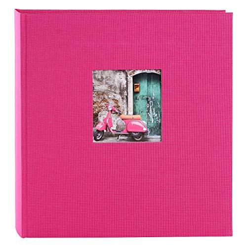 goldbuch 27898 Fotoalbum mit Fensterausschnitt, Bella Vista, Erinnerungsalbum 30 x 31 cm, Foto Album 60 weiße Seiten mit Pergamin-Trennblättern, Fotobuch aus Leinen, Pink