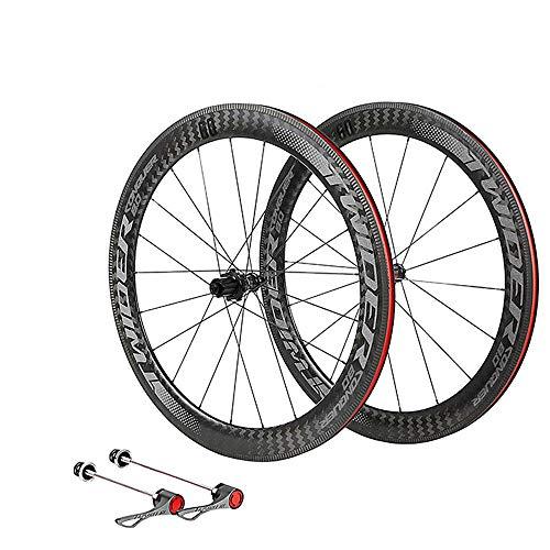 LIDAUTO Juego de Ruedas de Fibra de Carbono Bicicleta de Carretera 700C Ciclismo 4 rodamiento Freno de Disco Barril Eje de Rueda de llanta de 60 mm,Gray