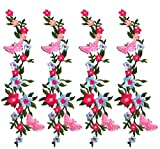 Zeng Parches Bordados 4 UNIDS Nuevas Mariposas Flor Apliques Bordado Tela Pasta Blossom Flower Applique Ropa Parche