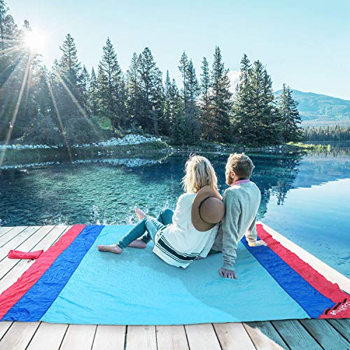WolfWise 270 x 210 cm XXL Stranddecke, Waschbare Picknickdecke Campingdecke aus Weiches Nylon Wasserdicht Sandfrei Schnell Trocknend mit 4 Pfähle Tragbar, Blau