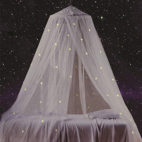 Bed Canopy with Fluorescent Stars Glow in Dark for Baby, Kids, Girls Or Adults, Anti Mosquito As Mosquito Net Use to...