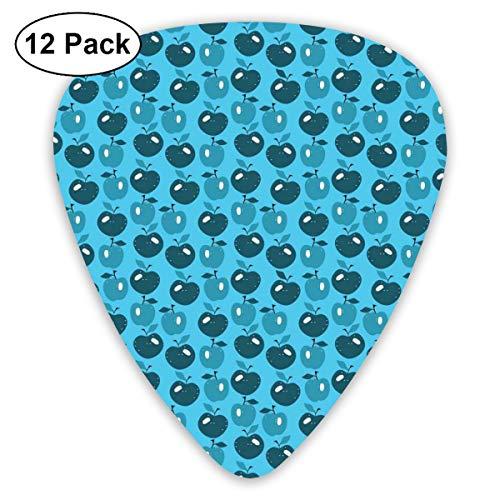 Gitaar Picks12 stks Plectrum (0,46 mm-0,96 mm), Cartoon Stijl Fruit Patroon In Blauwe tinten Gezond Dieet Eet Clean Print,Voor Uw Gitaar of Ukulele