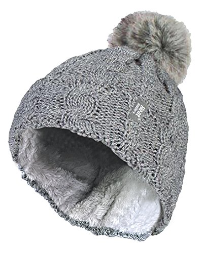 HEAT HOLDERS - Damen bunt Muster Winter Outdoor Fleece warm wintermütze/Beanie mütze mit Pompon bommel in 7 Farben (One Size, Light Grey)