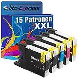 platinumserie–Juego de 15x Cartucho de tinta XXL compatible para Brother LC1240Black cian Magenta Yellow Impresora Brother DCP-J525W DCP-J725DW DCP-J925DW MFC-J430W J5910DW MFC-J625DW MFC-J6510DW MFC-J6710DW MFC-J6910DW MFC-J825DW MFC de MFC-J835DW por 30ml Black y 20ml Color