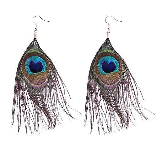 Pendientes largos para mujer, estilo vintage, diseño de plumas de pavo real