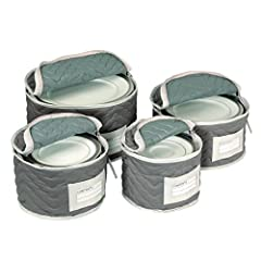 China holders are made with a lightweight, yet incredibly durable grey microfiber The microfiber is soft and plush, and has a decorative quilted stitching and lighter grey trim binding for an added touch of style Set of four includes one of each of t...