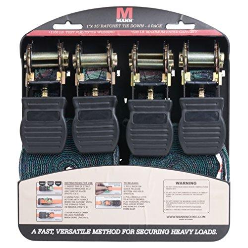 Mann Ratchet Tie Downs Straps with S-hooks 4-Pack Set 1-Inch x 15-Feet 500 Lbs Load Cap - 1500 Lb Break Strength (Camo)