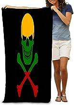 LOPEZ KENT Bath Towel Beach Towel Black Pirate Flag Image Jolly Roger Crossbones Combined Colors Lithuanian Flag Pirate Flag Combined 31 * 51 Inch