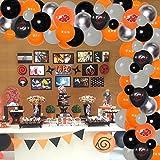 Guirnalda de globos y arco de color naranja gris y negro kit japonés anime temático decoraciones para fiestas de cumpleaños niños baby shower suministros