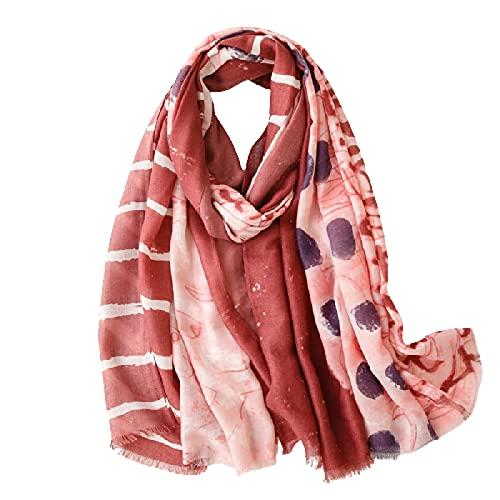 Pintado a mano pintura al óleo bufanda de seda, bufanda de algodón y lino, mantón largo salvaje de la costa, toalla de playa SL2104-055 rojo óxido