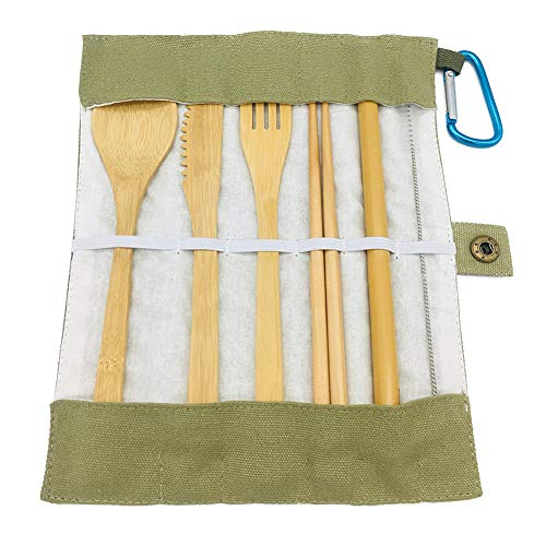 Beher Bamboo Utensils Cutlery Set 6Pcs, Reusable Cutlery Travel Set Bamboo Spoon, Fork, Knife, Straw, Brush, Chopsticks, Eco-Friendly Wooden Silverware Outdoor Portable Utensils with Case