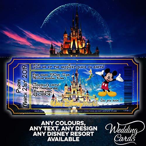 Invitaciones personalizadas de Mickey Mouse para cumpleaños de Disney, invitaciones para invitaciones de fiesta de Mickey Minnie Ariel Peter Pan