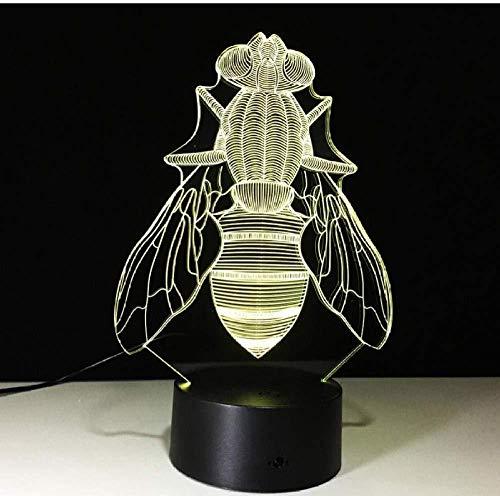 LED tafellamp gekleurd 7 bijen tuin feesten tafellamp 3D cartoon personages bedlampje voor kinderen USB-voeding