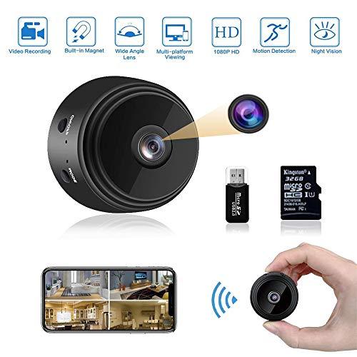 Mini Kamera,1080P HD Mini Überwachungskamera Micro WiFi Akku Kleine Kamera mit Infrarot Nachtsicht und 32G SD-Karte Kabellose Magnet Mikro Nanny Cam und für den Außen- und Innenbereich