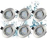 Kohree 6 x Encastrable Spot Led Extra Plat Interieur GU10 5W AC185-265V 3000K blanc chaud Spot à LED encastrable encastré lampe plafonnier plat Orientable Plafonnier Encastré [Classe énergétique A++]