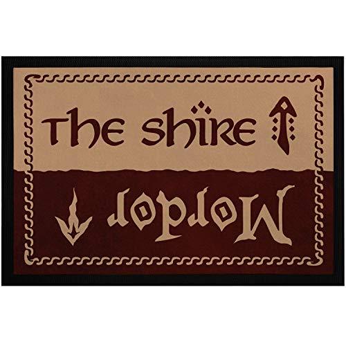 MoonWorks - Felpudo con texto 'The Shire Mordor' para fans de la película Fantasy antideslizante y lavable, color negro, 60 x 40 cm