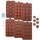 Ninonly 6 Pezzi Stampi per Cioccolato Food Grade Silicone Antiaderente Stampo in Silicone Accessori del Fondente della Decorazione Torta al Cioccolato Stampi Fai da Te 6 Forme Diverse, Marrone