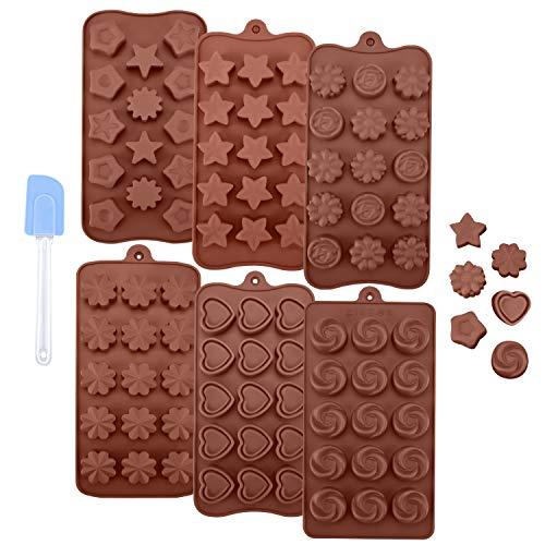 Schokoladenform 6er Set aus Silikon Ninonly 89 Hohlraum Silikon Pralinenformen Verschiedene Formen BPA Frei Backform Herzen Silikon Eiswürfelform Blöcke Kekse Schokoladenform