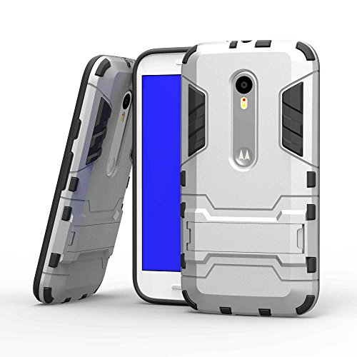 Tasche für Motorola Moto G 3 Generation Hülle, Ycloud das stärkste Handy Shock Proof Armor Dual Schutzabdeckung Hochfeste PC Kunststoffoberschale Shockproof mit Halterung Schutzabdeckung Silber