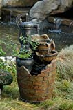 """32"""" Cascading Wood and Brick Look Water Pump Outdoor Patio Garden Fountain with Planter"""