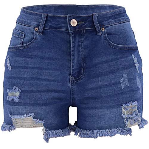 Qinvern Pantalones Cortos de Mezclilla Lavados de Talla Grande Que prensan Streetwear de Tendencia elástica para Mujer XL