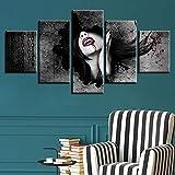 YALUO Retro Bloody Terror Girl City City Canvas HD Prints Pósters Home Decor Wall Art Fotos 5 Piezas Arte Pinturas Sin Marco (Color : No Frame, Size (Inch) : 20x35 20x45 20x55cm)
